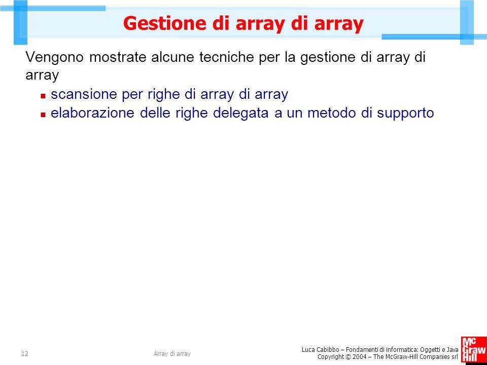 Gestione di array di array
