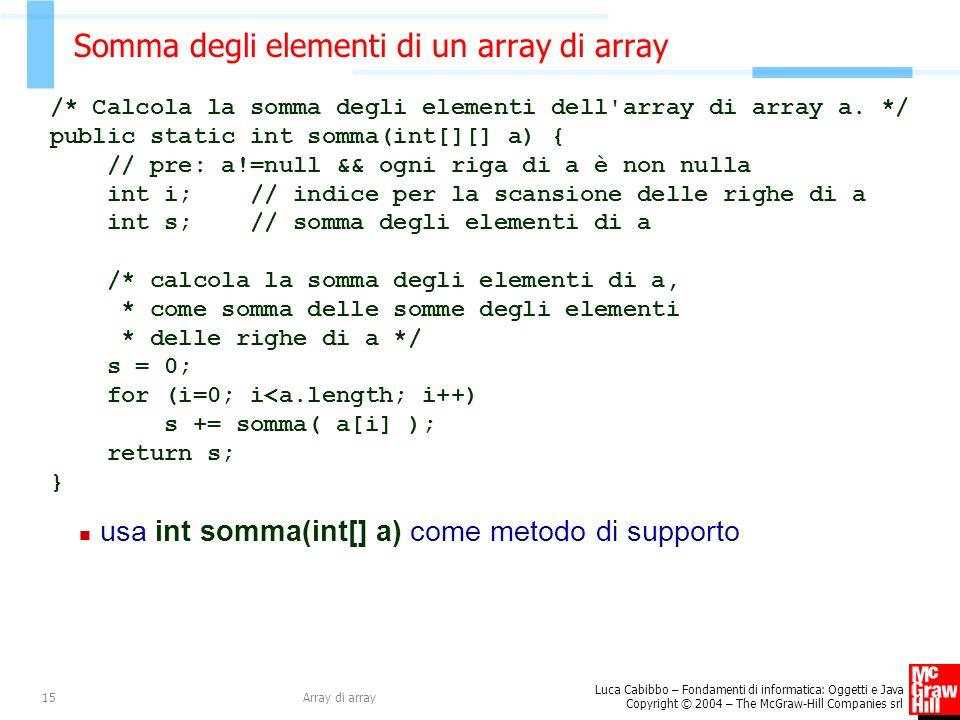 Somma degli elementi di un array di array