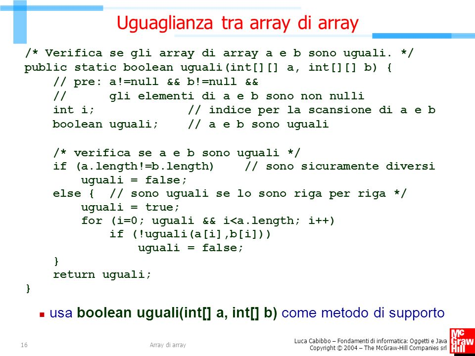 Uguaglianza tra array di array