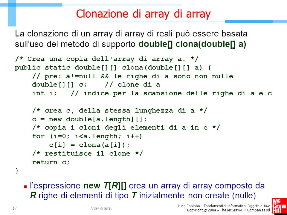 Clonazione di array di array