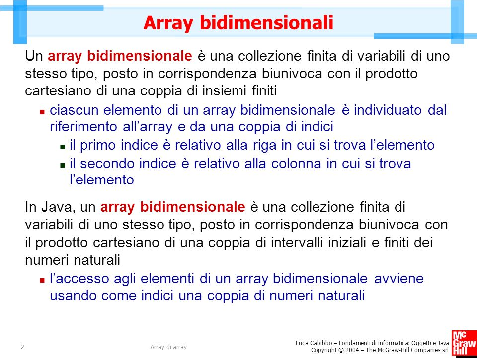 Array bidimensionali