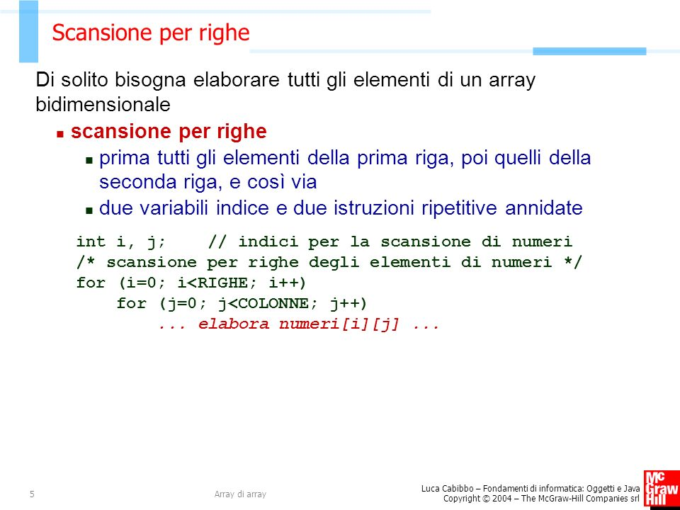 Scansione per righe Di solito bisogna elaborare tutti gli elementi di un array bidimensionale. scansione per righe.