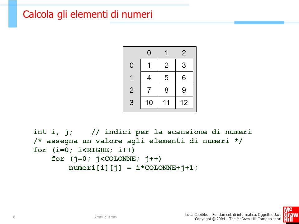 Calcola gli elementi di numeri