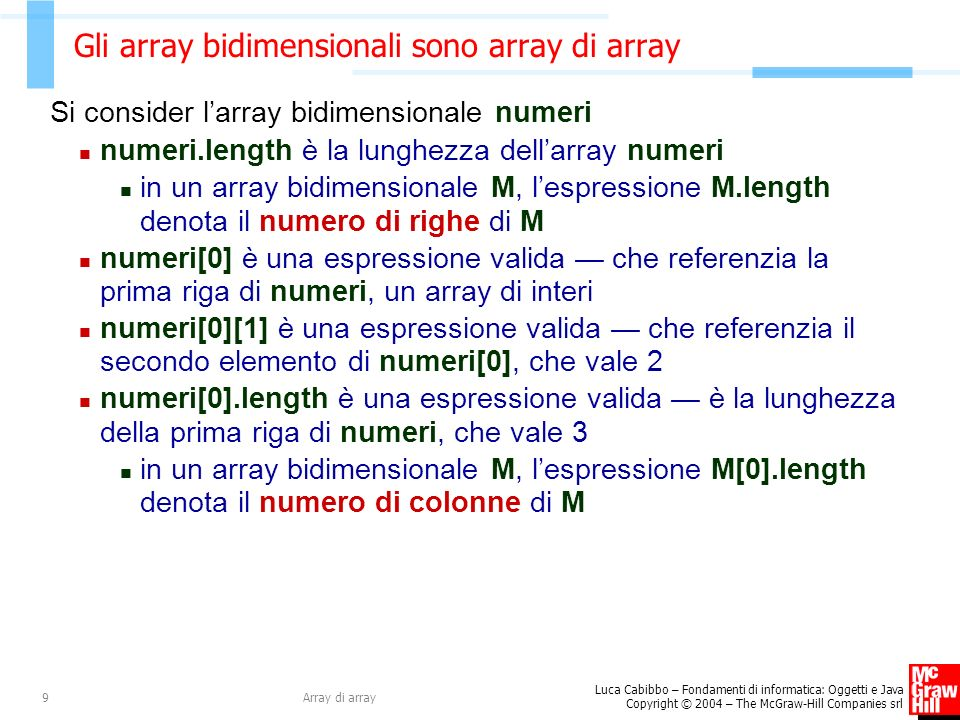 Gli array bidimensionali sono array di array