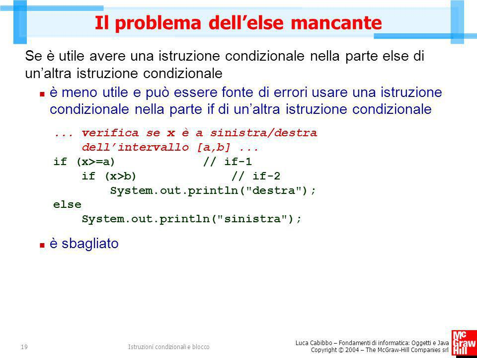 Il problema dell'else mancante