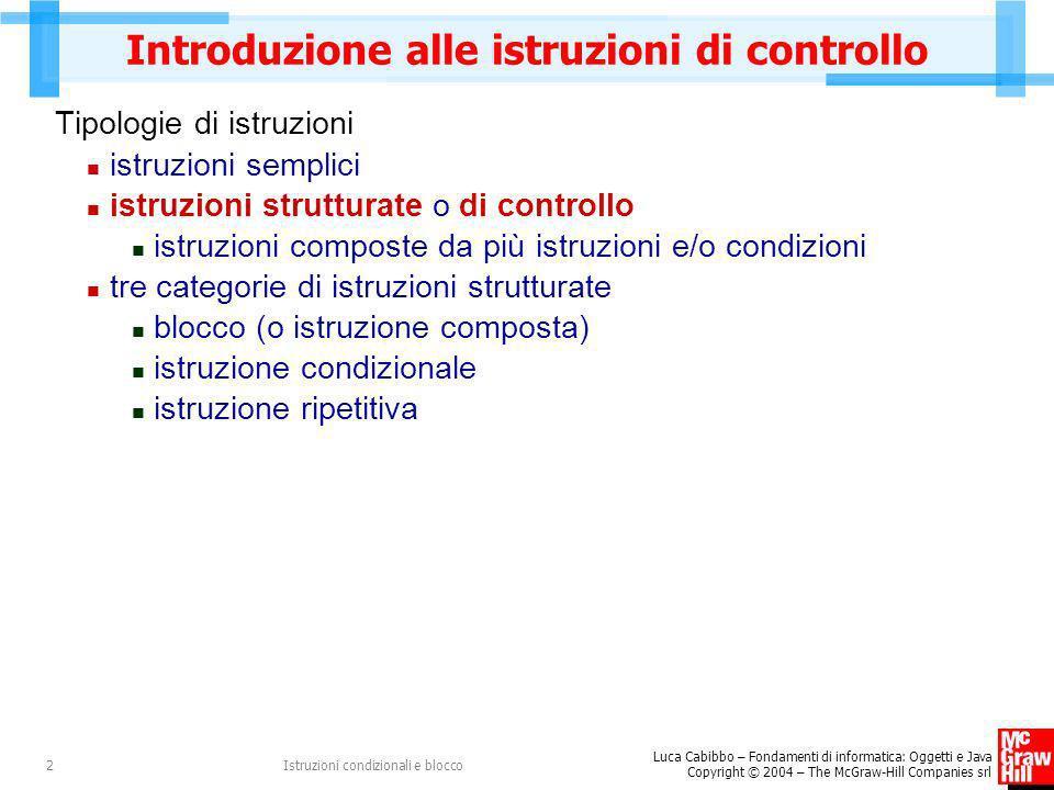 Introduzione alle istruzioni di controllo