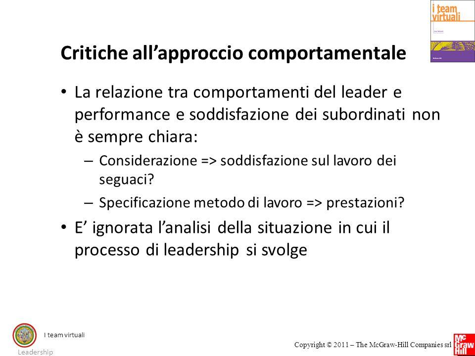 Critiche all'approccio comportamentale