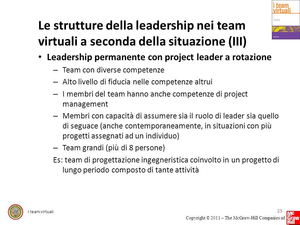 Le strutture della leadership nei team virtuali a seconda della situazione (III)