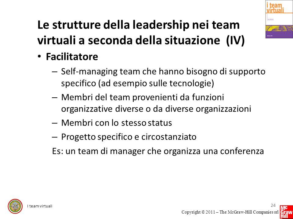 Le strutture della leadership nei team virtuali a seconda della situazione (IV)