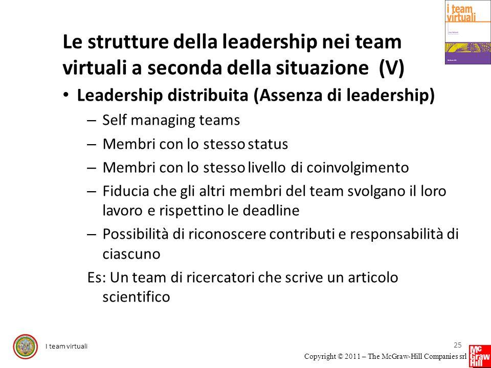 Le strutture della leadership nei team virtuali a seconda della situazione (V)