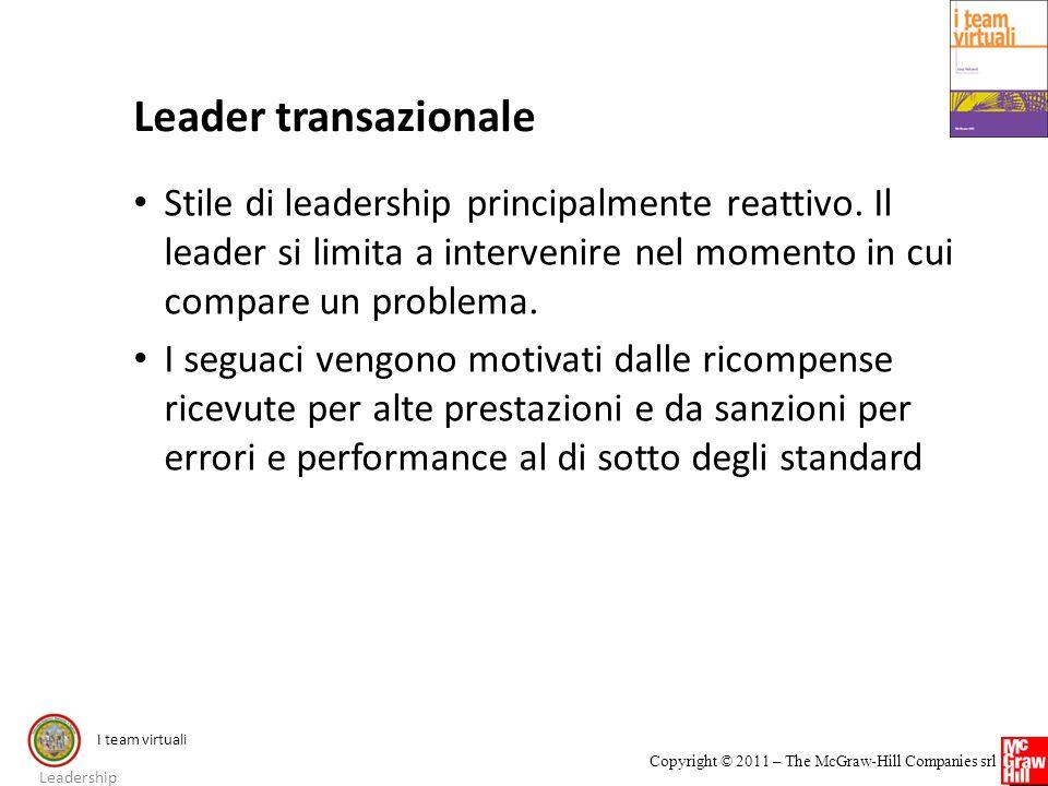 Leader transazionale Stile di leadership principalmente reattivo. Il leader si limita a intervenire nel momento in cui compare un problema.
