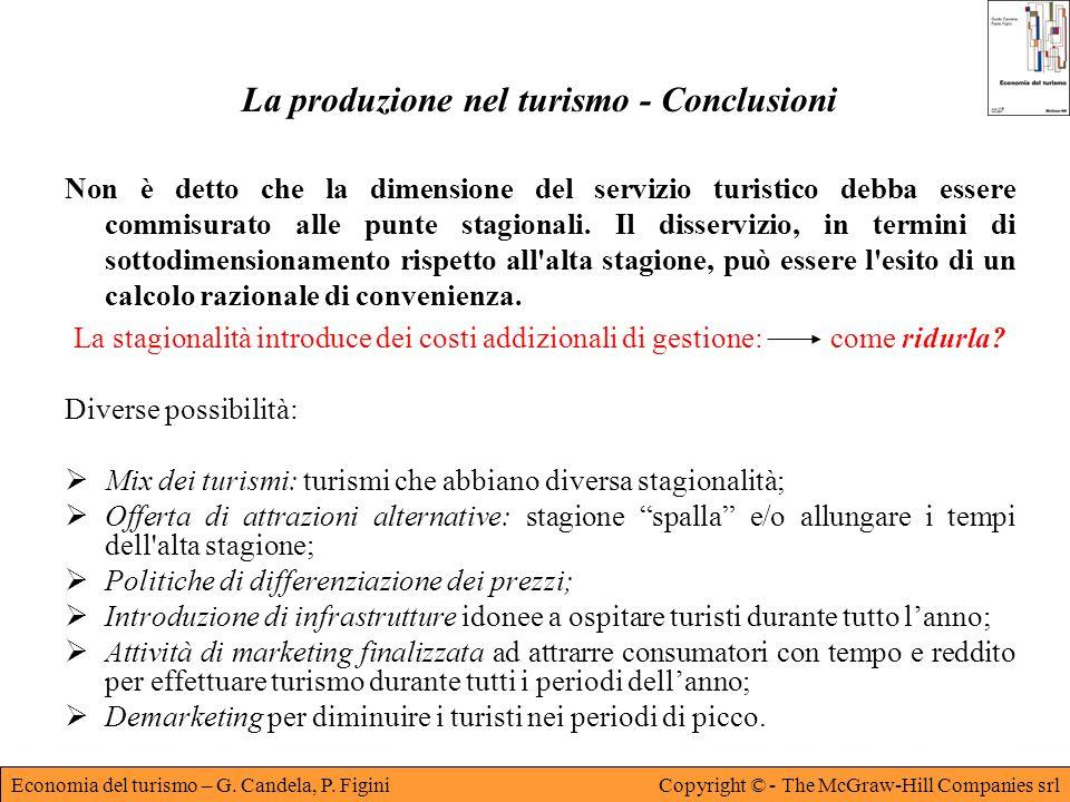 La produzione nel turismo - Conclusioni