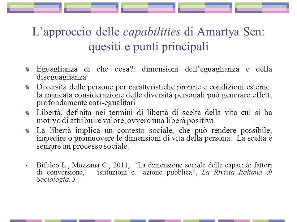 L'approccio delle capabilities di Amartya Sen: quesiti e punti principali