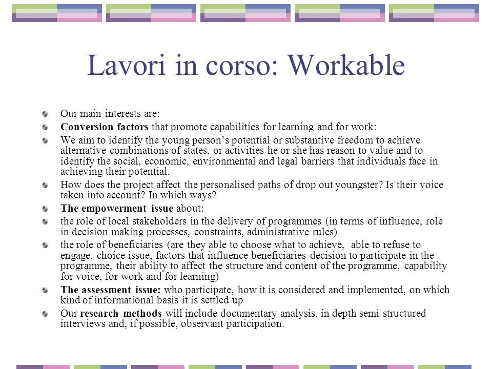 Lavori in corso: Workable