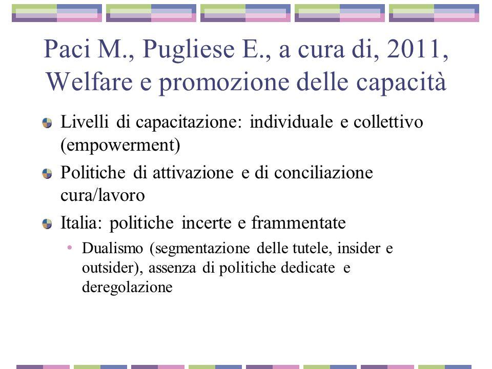 Paci M., Pugliese E., a cura di, 2011, Welfare e promozione delle capacità