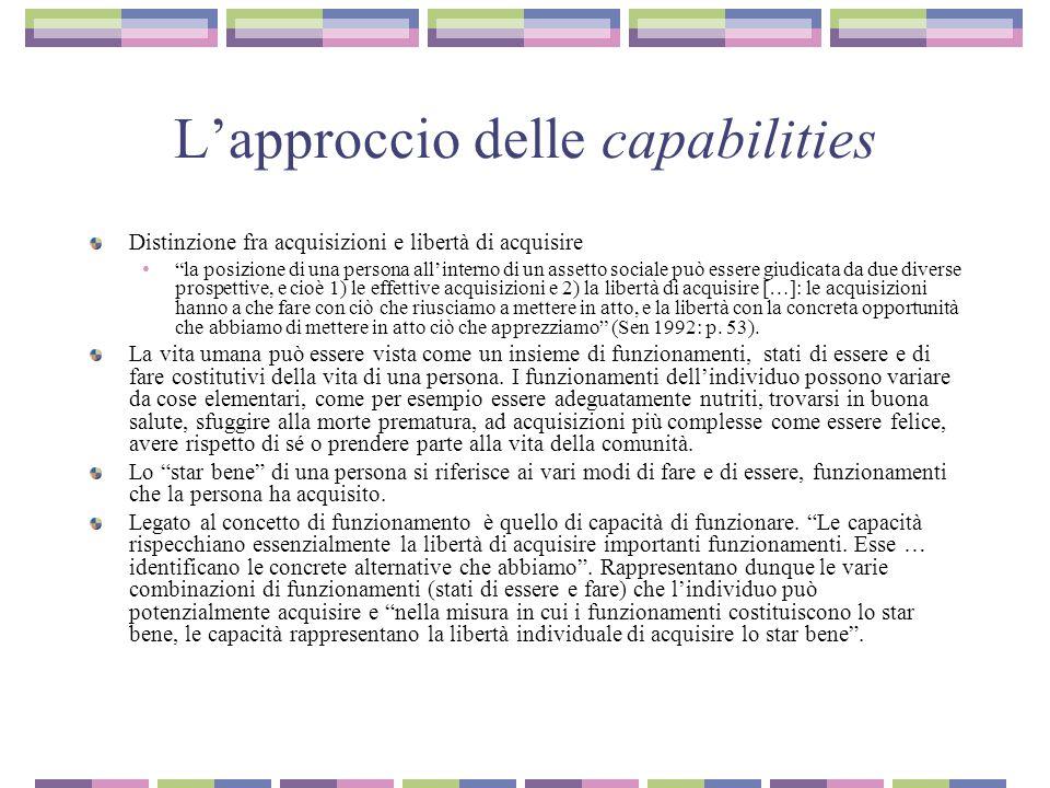 L'approccio delle capabilities