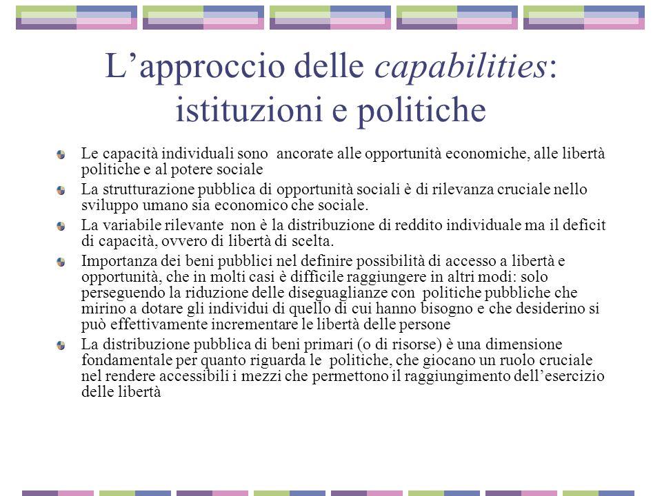 L'approccio delle capabilities: istituzioni e politiche