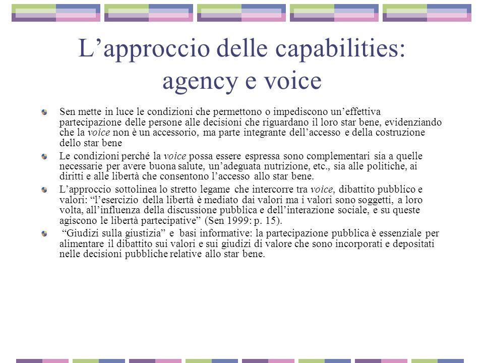 L'approccio delle capabilities: agency e voice
