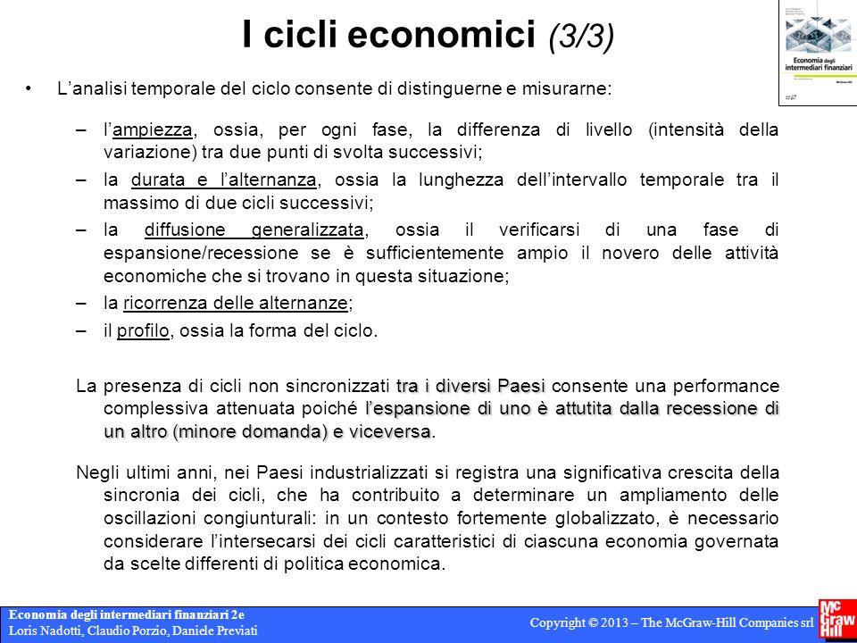 I cicli economici (3/3) L'analisi temporale del ciclo consente di distinguerne e misurarne: