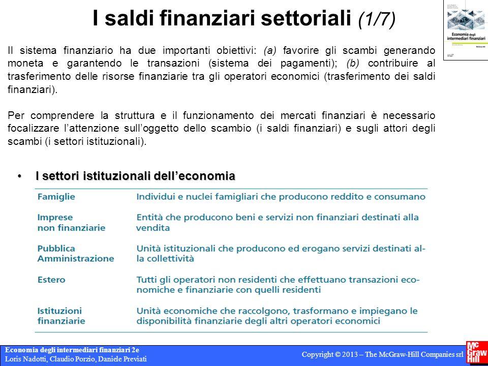 I saldi finanziari settoriali (1/7)