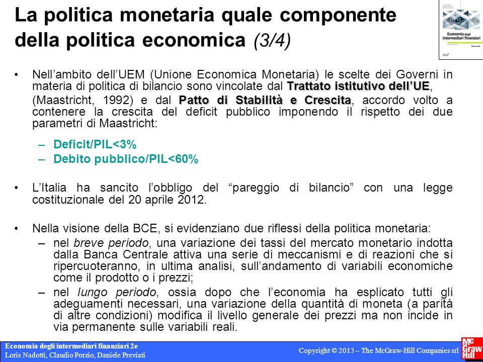 La politica monetaria quale componente della politica economica (3/4)