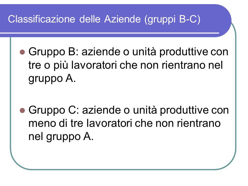 Classificazione delle Aziende (gruppi B-C)