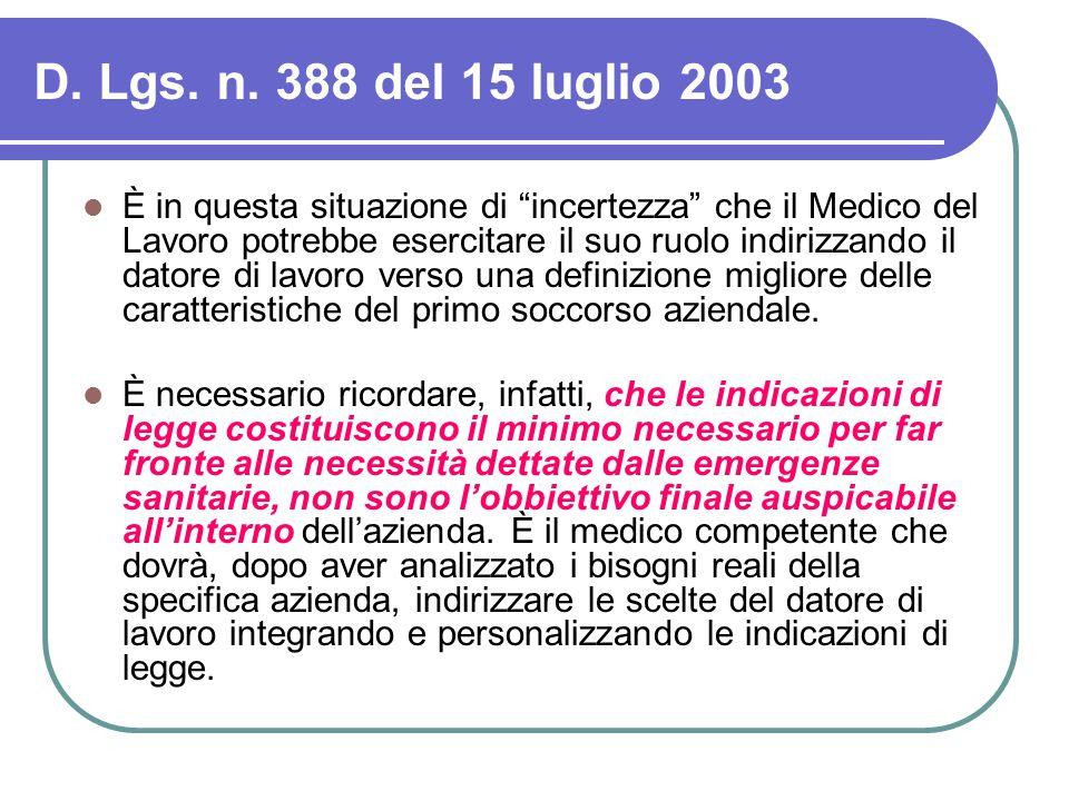 D. Lgs. n. 388 del 15 luglio 2003