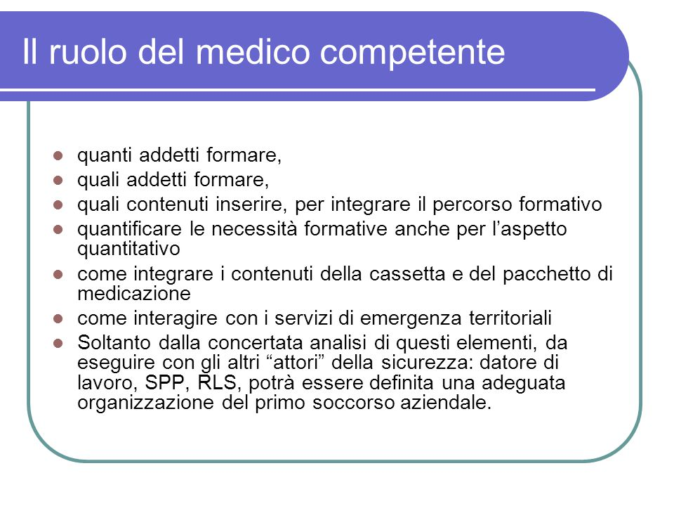 Il ruolo del medico competente