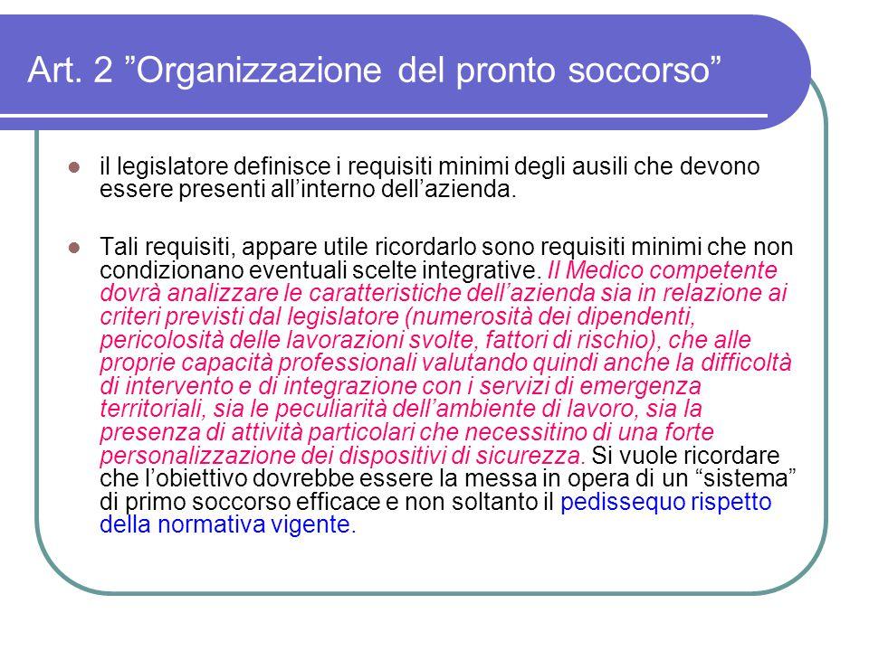 Art. 2 Organizzazione del pronto soccorso