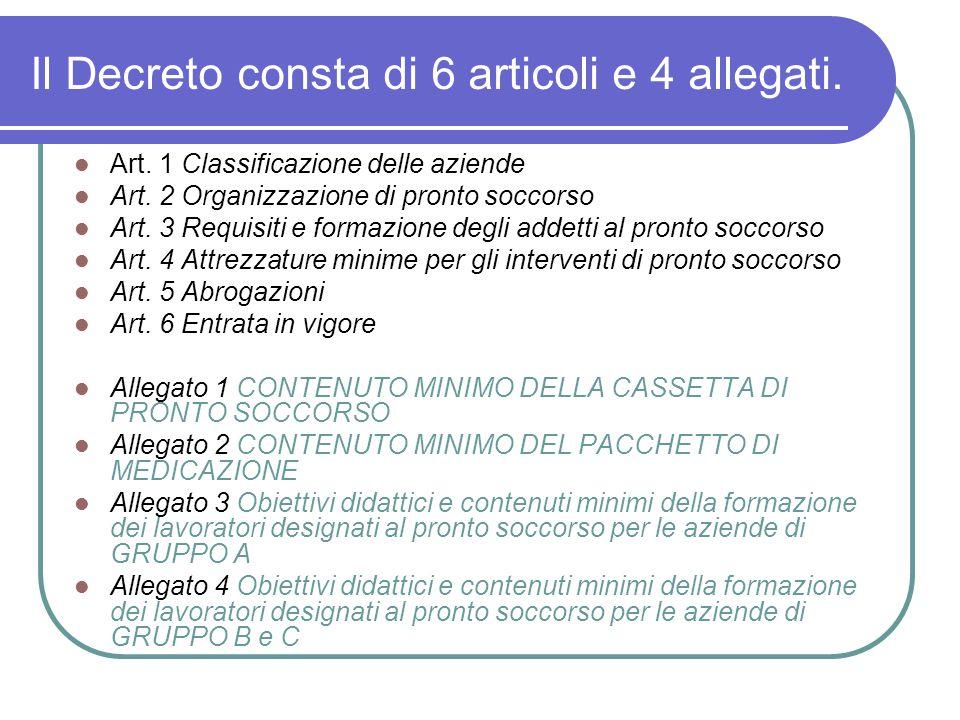 Il Decreto consta di 6 articoli e 4 allegati.