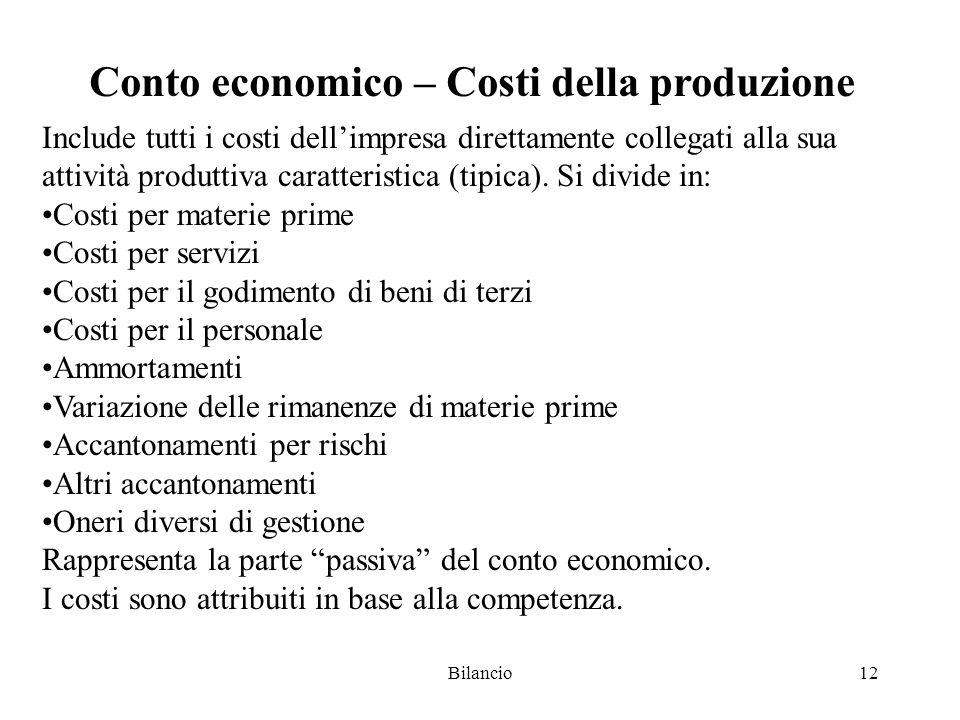 Conto economico – Costi della produzione