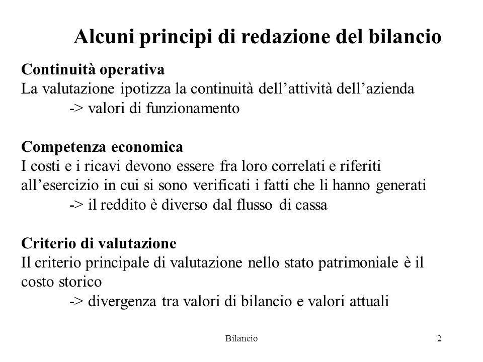 Alcuni principi di redazione del bilancio