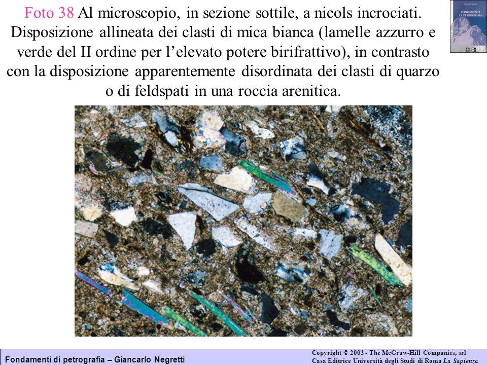 Foto 38 Al microscopio, in sezione sottile, a nicols incrociati