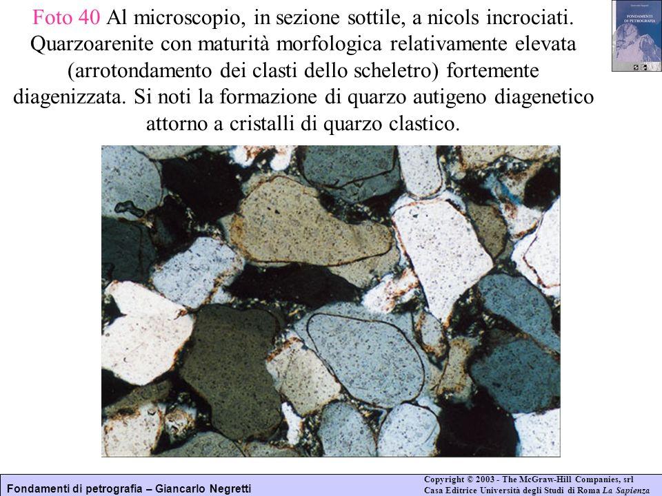Foto 40 Al microscopio, in sezione sottile, a nicols incrociati