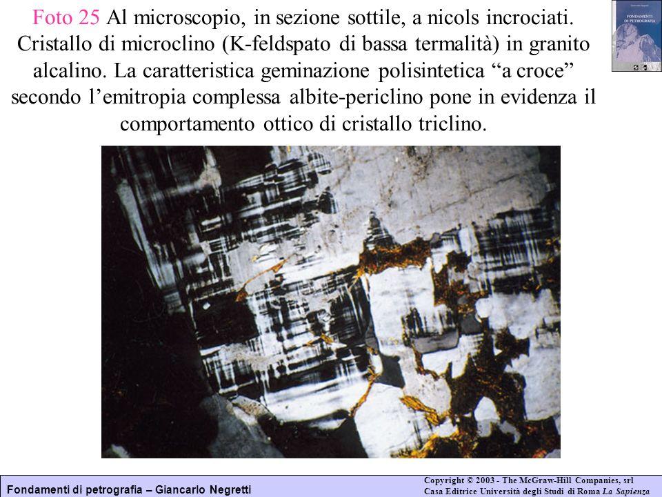 Foto 25 Al microscopio, in sezione sottile, a nicols incrociati