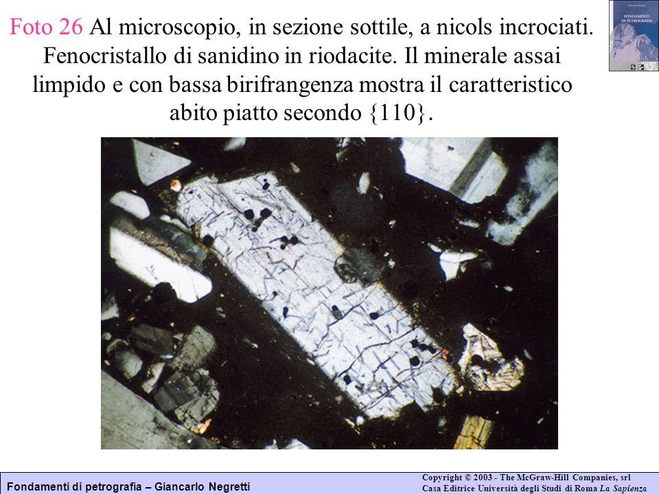 Foto 26 Al microscopio, in sezione sottile, a nicols incrociati