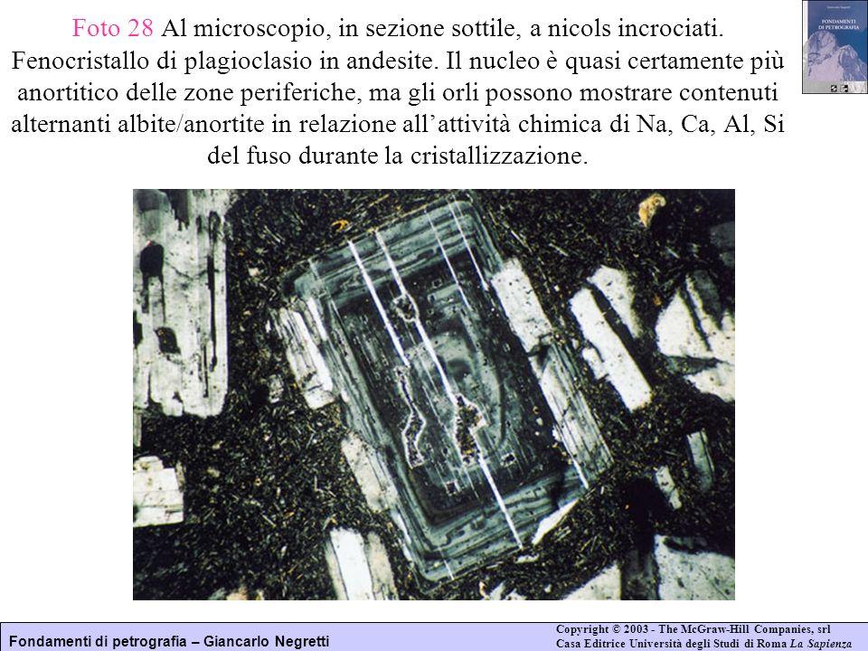 Foto 28 Al microscopio, in sezione sottile, a nicols incrociati