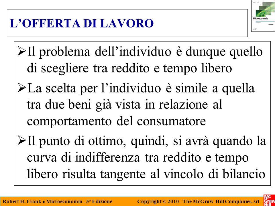 L'OFFERTA DI LAVORO Il problema dell'individuo è dunque quello di scegliere tra reddito e tempo libero.
