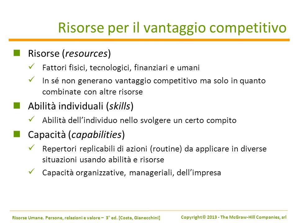 Risorse per il vantaggio competitivo