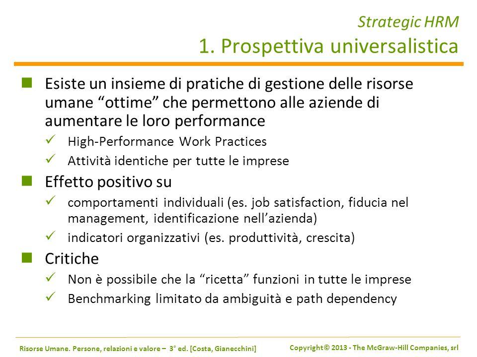 Strategic HRM 1. Prospettiva universalistica