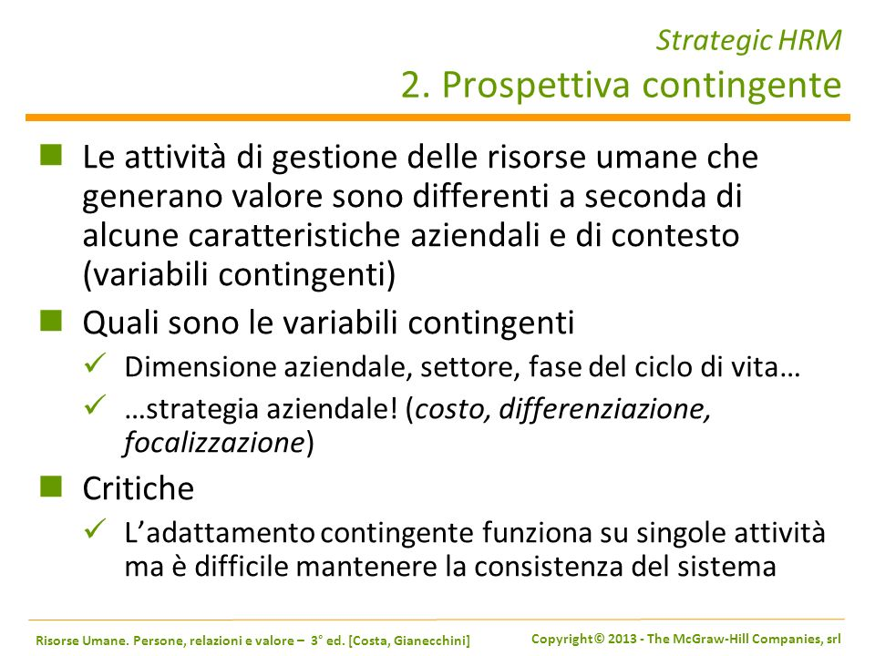Strategic HRM 2. Prospettiva contingente