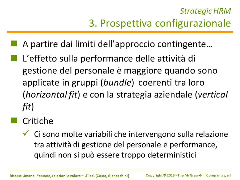 Strategic HRM 3. Prospettiva configurazionale