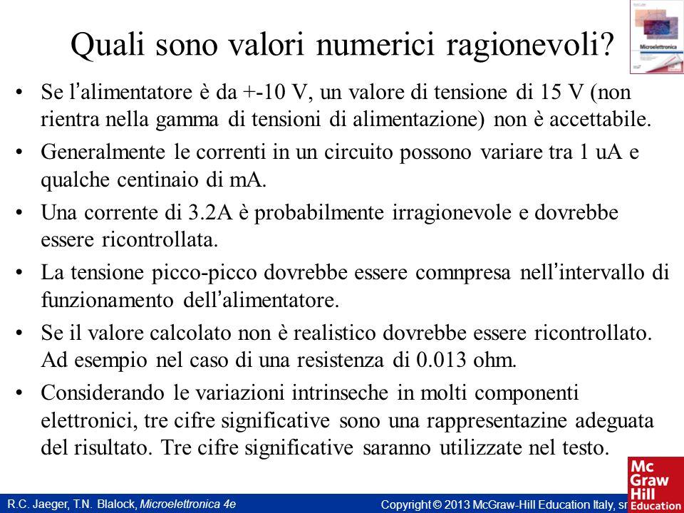 Quali sono valori numerici ragionevoli