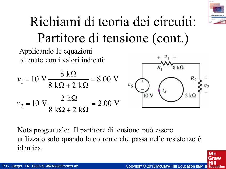 Richiami di teoria dei circuiti: Partitore di tensione (cont.)