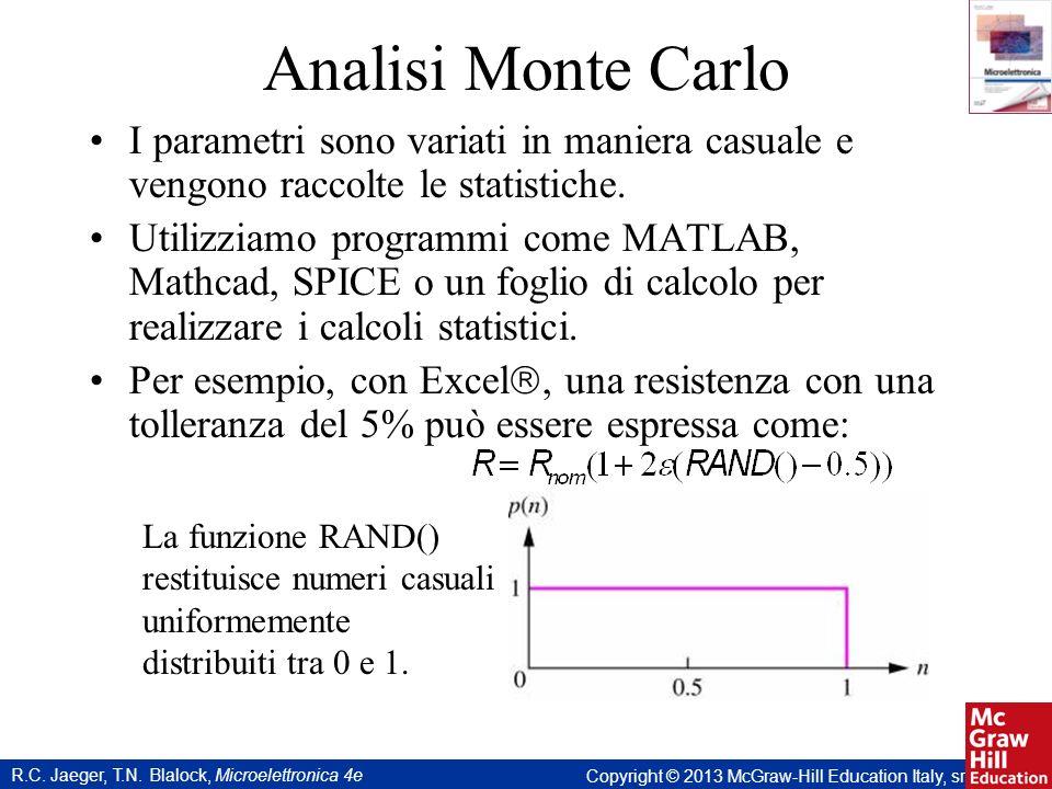 Analisi Monte Carlo I parametri sono variati in maniera casuale e vengono raccolte le statistiche.