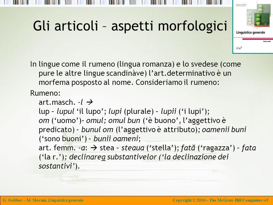 Gli articoli – aspetti morfologici