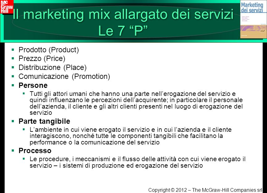 Il marketing mix allargato dei servizi Le 7 P