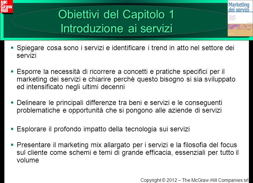 Obiettivi del Capitolo 1 Introduzione ai servizi