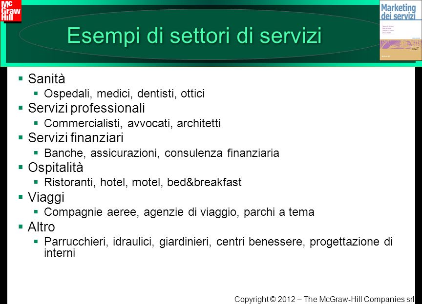 Esempi di settori di servizi