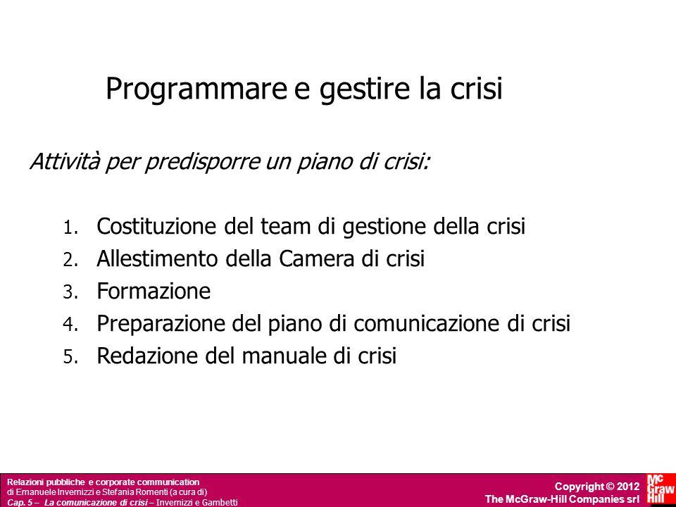 Programmare e gestire la crisi